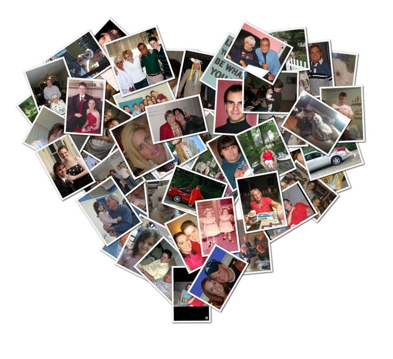 Heart collage family